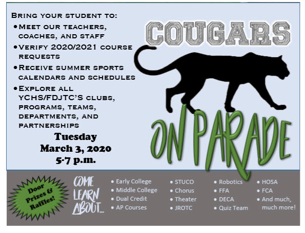 Cougars On Parade, Tuesday, March 3 from 5-7 PM