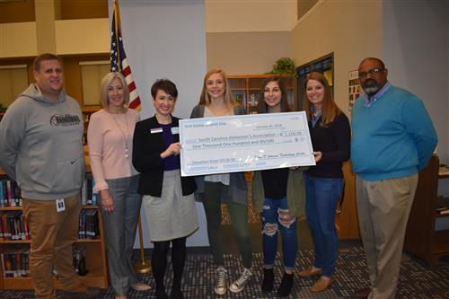 FDJTC Students donate check to SC Alzheimer's Association