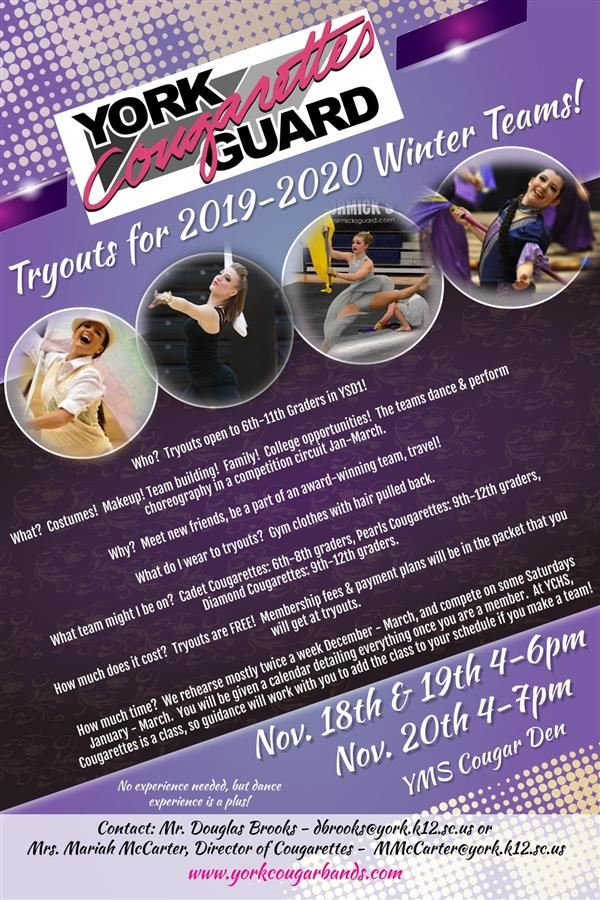 York Cougarettes Tryout flyer