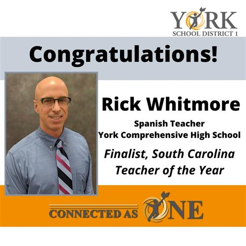 Rick Whitmore Finalist SC Teacher of the Year
