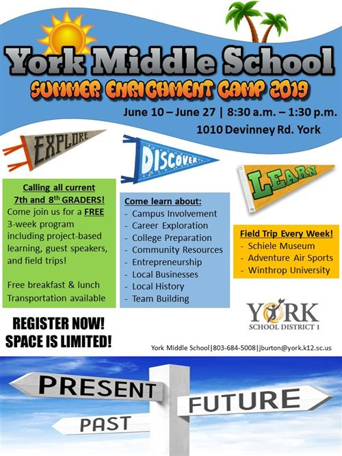 York Middle School Summer Enrichment Camp 2019