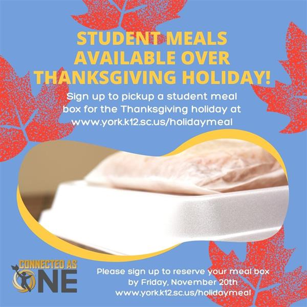 Student Meals Available Over Thanksgiving Break