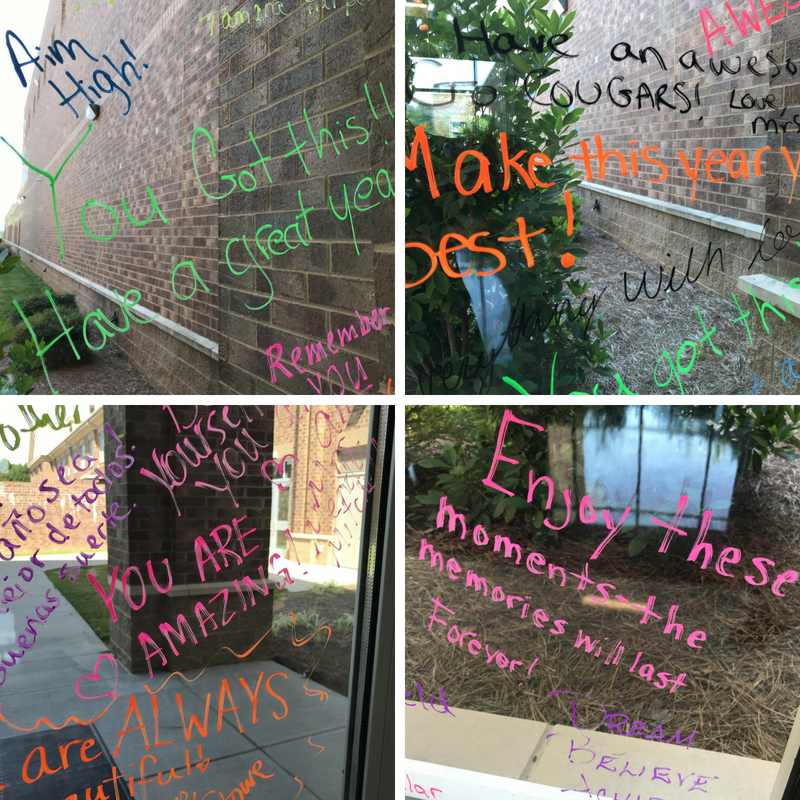 Collage of pictures of writing on glass